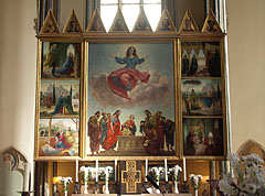 Painted winged altar (a so-called triptych, a polyptych with three sections altarpiece) - Budapešť, Maďarsko