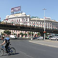 "The Grand Boulevard (or roundroad, ""Nagykörút"" in Hungarian), with the overpass that is currently closed for the pedestrians - Budapešť, Maďarsko"