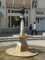 """Boy with Rooster"" fountain and statue in the square, at the south side of the St. Bartholomew's Church - Gyöngyös, Maďarsko"