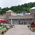 The park of the thermal bath and the bath house at the foot of the hill - Miskolc (Miškovec), Maďarsko