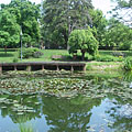 The beautiful small lake in the castle garden was originally part of the moat (the water ditch around the castle) - Szerencs, Maďarsko