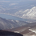 The Danube Bend in winter from the Dobogó-kő mountain peak - Dobogókő, Maďarsko