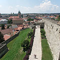 Looking from the top of the Gergely Bastion to the east, towards the castle walls and the town center - Eger, Maďarsko
