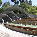 Real retro atmosphere at the terraced pools of Lepence thermal bath - Visegrád, Macaristan