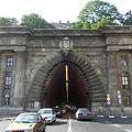 "The entrance of the Buda Castle Tunnel (""Budai Váralagút"") that overlooks the Danube River - Budapest, Hongrie"