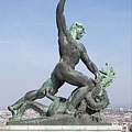The dragon slayer figure in the Liberty Statue composition - Budapest, Hongrie