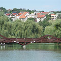 The boating pond with the footbridge - Ajka, Węgry