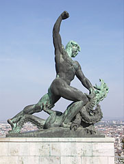 The dragon slayer figure in the Liberty Statue composition - Budapeszt, Węgry
