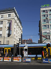 Tram stop in the boulevard at the Corvin köz street - Budapeszt, Węgry