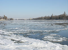 The view of the icy Danube River to the direction of the Árpád Bridge - Budapeszt, Węgry