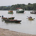 Several kinds of boats in the harbor - Göd, Węgry