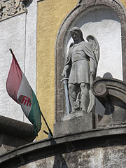 Statue of St. Michael archangel on the facade of the Roman Catholic church - Dunakeszi, Унгария