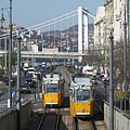Yellow trams (line 2) on the downtown Danube bank (so on the Pest side of the river) - Budapest, Ungarn