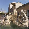 "Ister Fountain (in Hungarian ""Ister-kút"") with five women sculpture in the water - Esztergom (Gran), Ungarn"