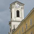 The steeple (tower) of the St. Michael's Church - Budapest, Ungarn