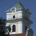 "The baroque style clocktower of the ""Small"" Evangelical Church was also used for fire watching thanks to the balcony all around it - Békéscsaba, Hongarije"