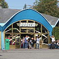 "The domed blue building of the ""Dodgem"" (bumper cars) amusement ride - Boedapest, Hongarije"