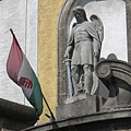 Statue of St. Michael archangel on the facade of the Roman Catholic church - Dunakeszi, Hongarije