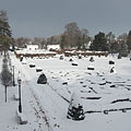 The snow-bound castle park viewed from the mansion - Nagycenk, Hongarije