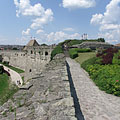 The massive southern wall of the Eger Castle, as well as the crosses on the Calvary Hill - Eger, Ungari