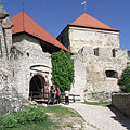 """The gate of the inner castle with a drawbridge, and beside it is the Old Tower (""""Öregtorony"""") - Sümeg, Ungari"""