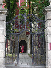 Wrought iron gate of the Orthodox Episcopal Cathedral (Beograda Church or Belgrade Church) - Szentendre, Ungarn