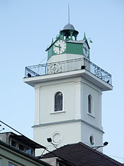 The fire watching turret with a clock on the National Theater of Miskolc - Miskolc, هنغاريا