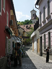 The cobble stoned alley way goes to the verdant Church Hill (Templomdomb) - Szentendre, هنغاريا
