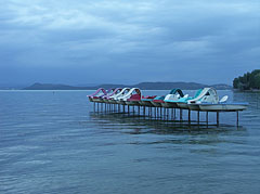 Pedalos (paddle boats) on a pier on the beach - Balatonföldvár, Hungary