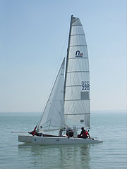 A N20 or Nacra 20 class sports catamaran racing sailboat - Balatonfüred, Hungary