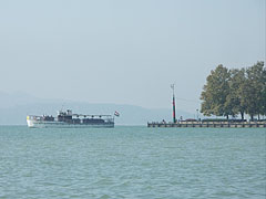 "The ""Csongor"" excursion boat just leaves the harbor - Balatonfüred, Hungary"