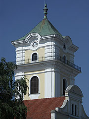 "The baroque style clocktower of the ""Small"" Evangelical Church was also used for fire watching thanks to the balcony all around it - Békéscsaba, Hungary"