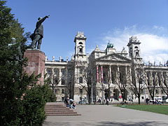 The statue (more precisely sculptural group) of Lajos Kossuth Hungarian statesman (created in 1952), and the Palace of Justice - Budapest, Hungary