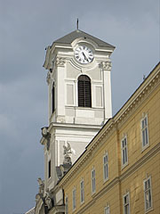 The steeple (tower) of the St. Michael's Church - Budapest, Hungary