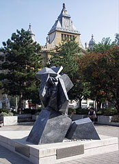 Abstract grey marble sculpture in memory of Gábor Sztehlo evangelical pastor (1909-1974) - Budapest, Hungary