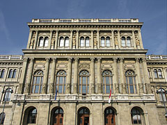 Main facade on the neo-renaissance palace of the Hungarian Academy of Sciences - Budapest, Hungary