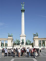 The central part of the Millenium Memorial (or Monument) with the 36-meter-high main column - Budapest, Hungary