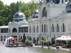 "The skating hall building of the City Park Ice Rink (in Hungarian ""Városligeti Műjégpálya""), viewed from the boating lake - Budapest, Hungary"