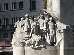 Supporting figures on the memorial of Mihály Vörösmarty - Budapest, Hungary