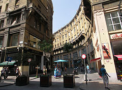 "The corner of Anker House and the circular arc shaped ""Anker köz"" pedestrian street - Budapest, Hungary"