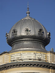 Onion dome on the top corner of an apartment building on the Grand Boulevard - Budapest, Hungary