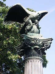 Statue of a mythical turul bird at the eastern foot of Gellért Hill - Budapest, Hungary