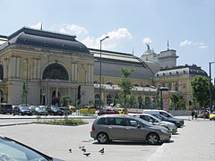 Parking lot and the north side of the Keleti Train Terminal building - Budapest, Hungary