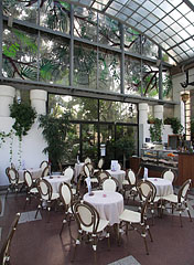 The tables of the Gundel Confectionery in the Palm House - Budapest, Hungary