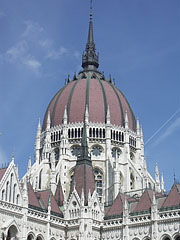 "The dome of the Hungarian Parliament Building (""Országház"") as seen from the main square - Budapest, Hungary"