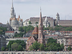 The Fisherman's Bastion and the Matthias Church on the Buda Castle Hill, as well as the redbrick Szilágyi Dezső Square Reformed (Protestant) Church on the Danube bank in Buda - Budapest, Hungary