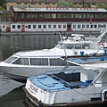 Hydrofoil and water bus boats at the Újpest harbour - Budapest, Hungary