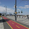 Bike path and tram track by the River Danube at the Batthyány Square - Budapest, Hungary