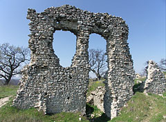 The still standing wall of the former castle with two window openings - Csővár, Hungary