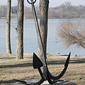 Cast iron anchor on the land, it is probably exhibited - Dunakeszi, Hungary